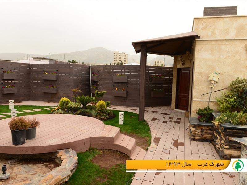محوطه سازی پشت بام چوب پلاست تهران