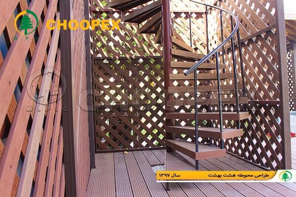 پله و نرده چوب پلاست