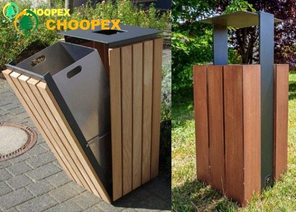 سطل زباله چوبی-سطل زباله چوب پلاست