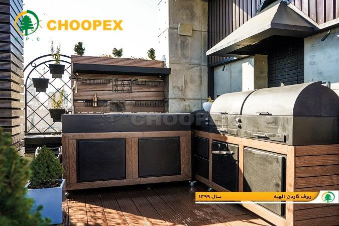 کاربرد چوب پلاست در ساخت آشپزخانه فضای باز!